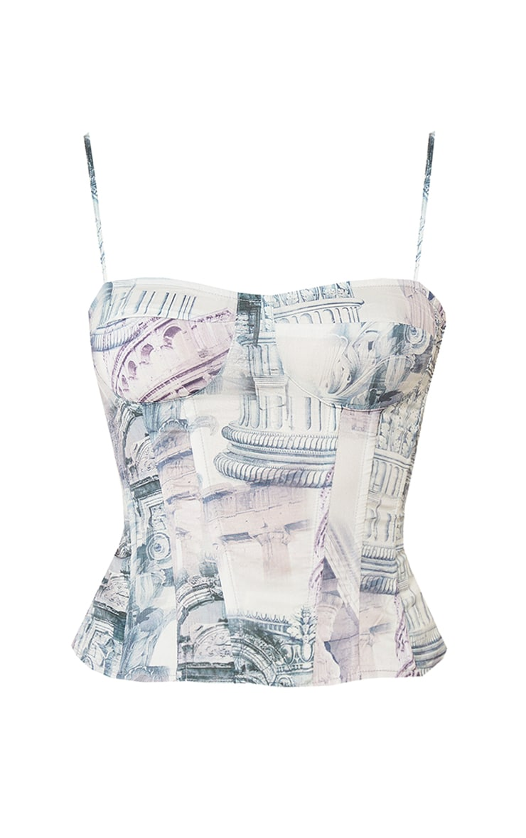 Stone  Abstract Renaissance Print Structured Corset Top 5