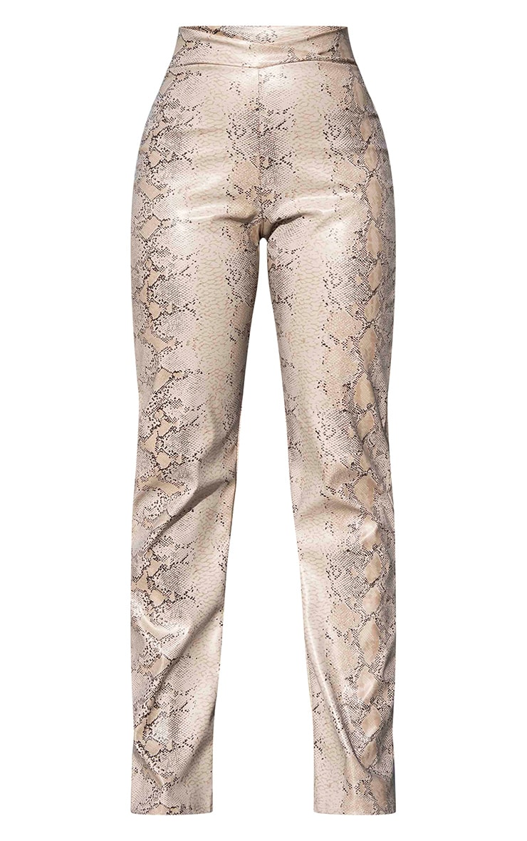 Taupe Snake Print V Waist Trousers 5