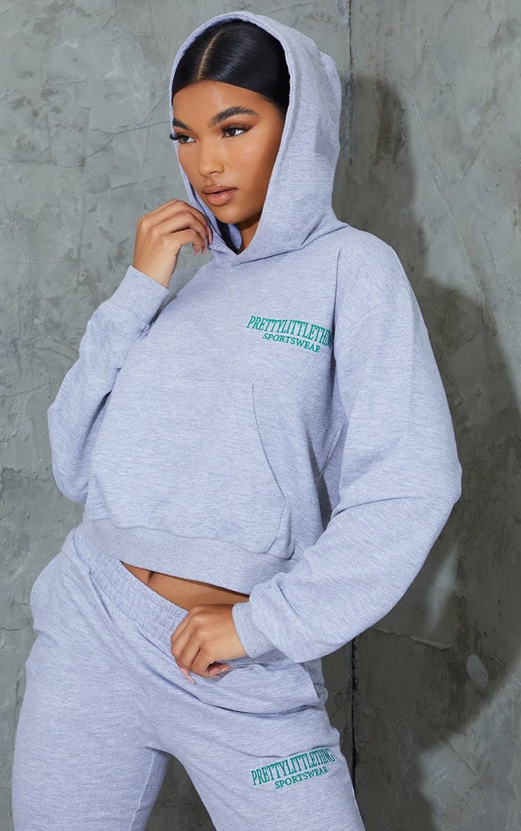 Grey Sports Embroidered Cropped Hoodie 1
