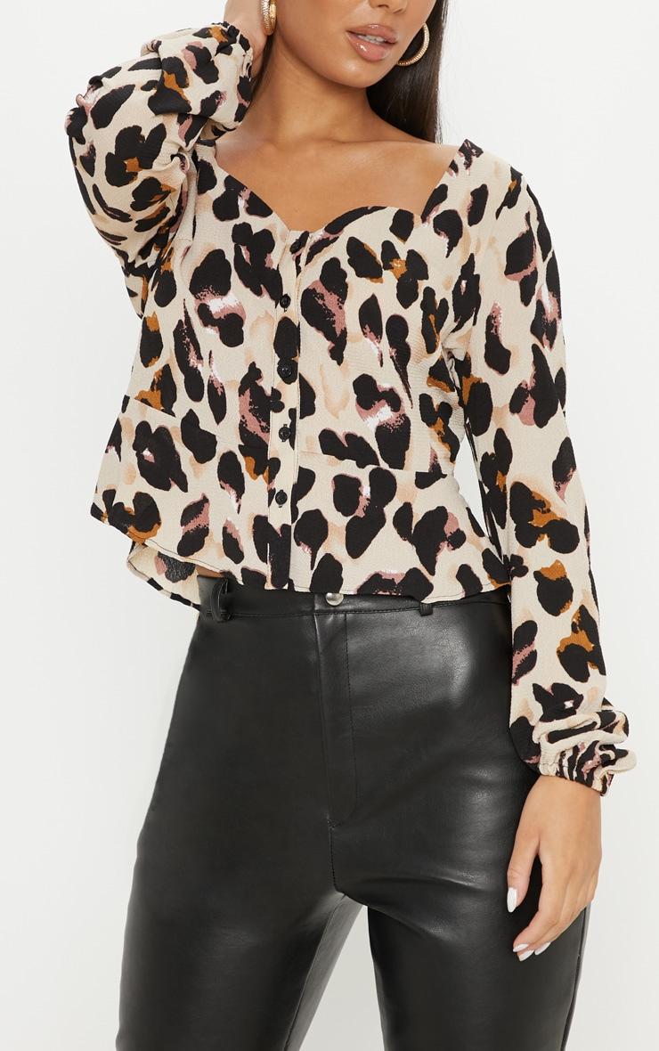 Tan Leopard Peplum Blouse 5