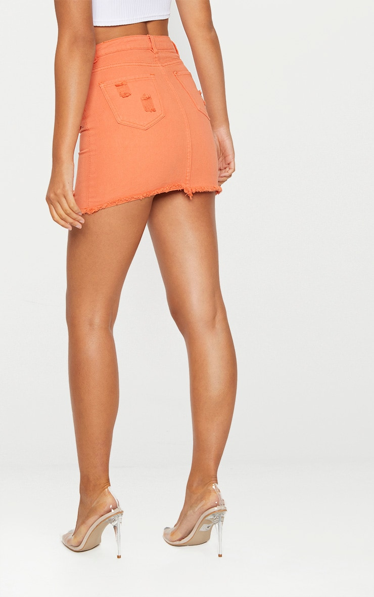 Orange Distressed Denim Mini Skirt 4