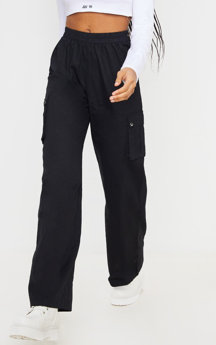 Black Wide Leg Cargo Trouser 2
