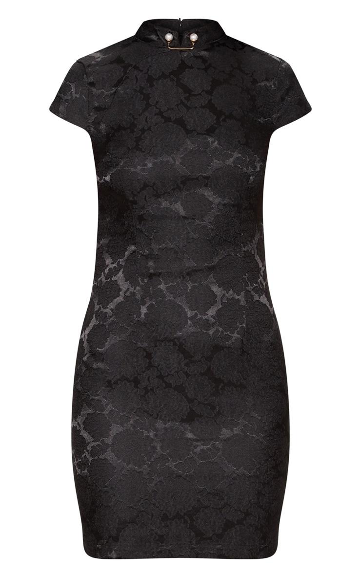 Black Floral Satin Oriental Bodycon Dress 3