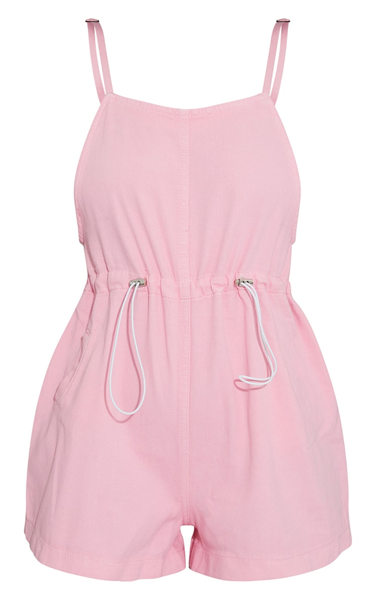 Pink Washed Toggle Waist Square Neck Romper 5