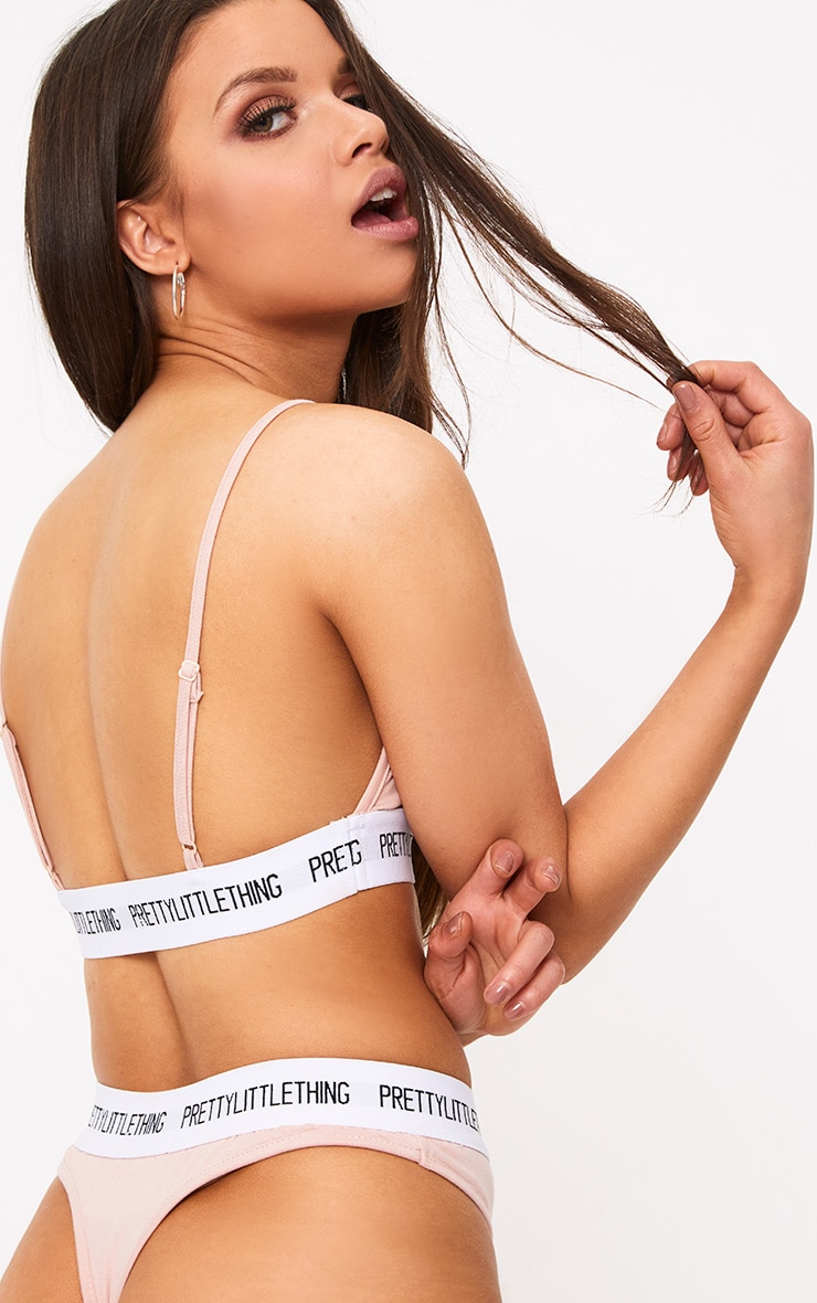 PRETTYLITTLETHING Nude Contrast Band Strap Detail Bra 2