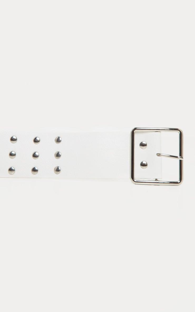 White Triple Row Studded Belt 3