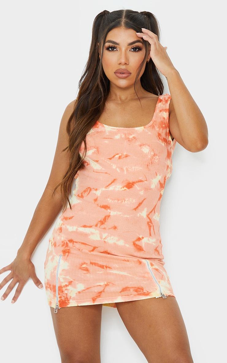 Peach Tie Dye Ribbed Zip Hem Sleeveless Bodycon Dress 2