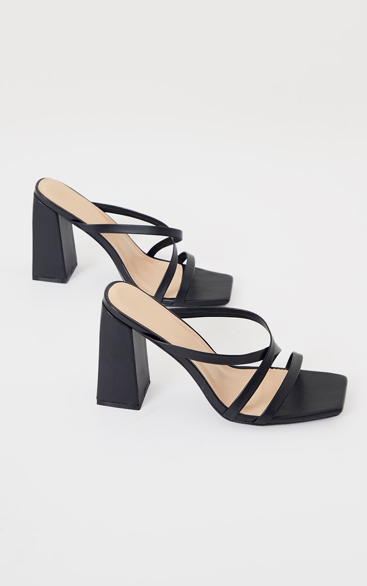 Black Wide Fit Flare High Block Heel Strappy Mules 3