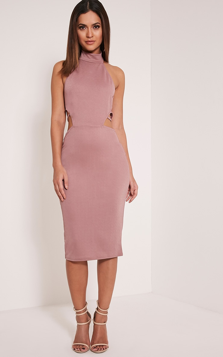 Shae Mauve High Neck Backless Bodycon Dress 1