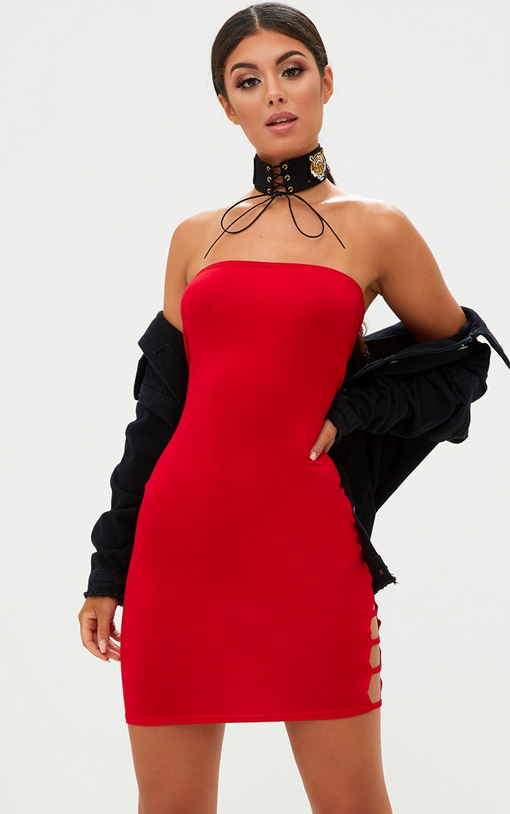 Red Bandeau Strap Detail Bodycon Dress 1