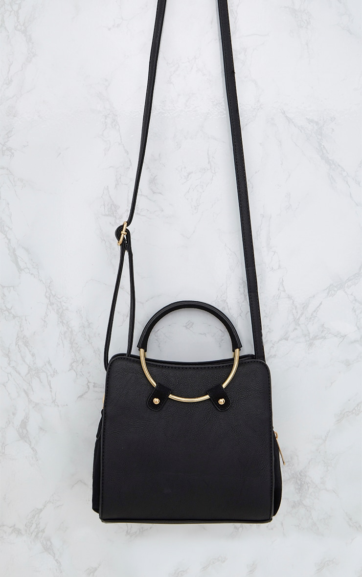 Black Hoop Handle Shoulder Bag 5