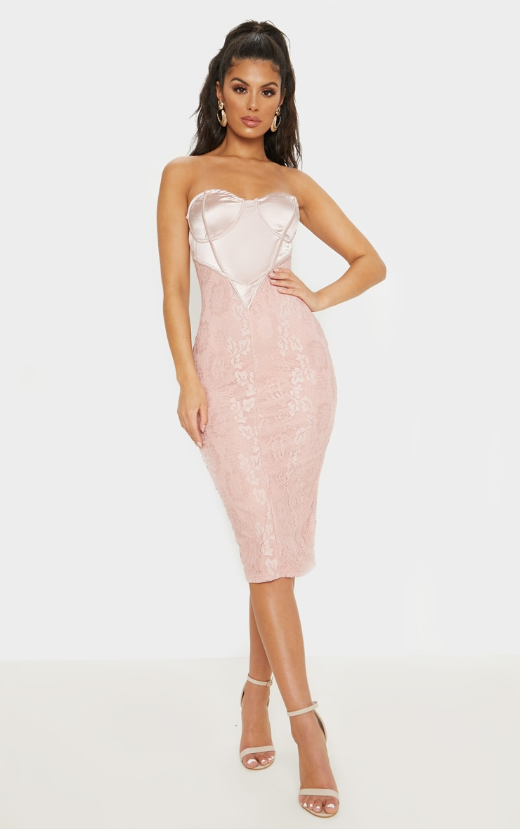 Dusty Pink Satin Bustier Lace Midi Dress 1