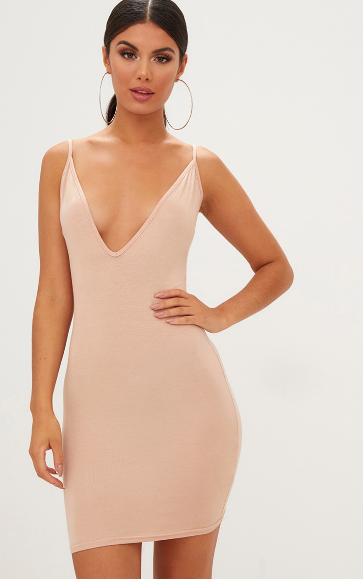 Nude Jersey Strappy Plunge Bodycon Dress 1