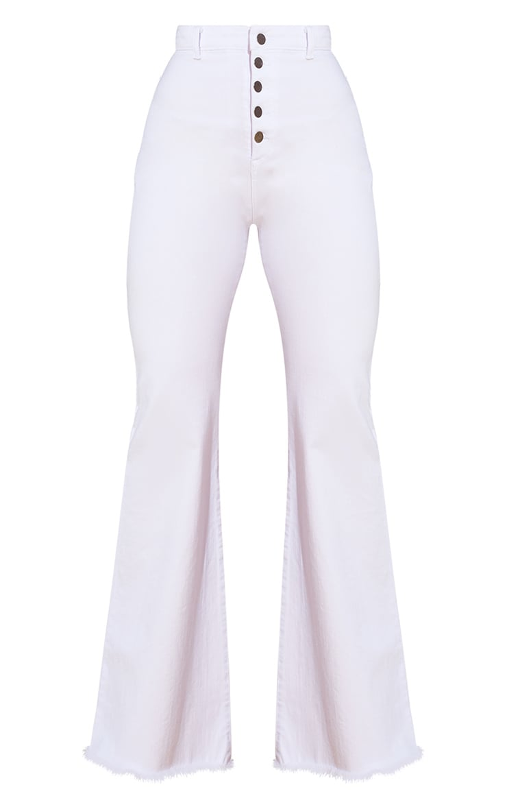 White Button Detail Flared Jeans 5