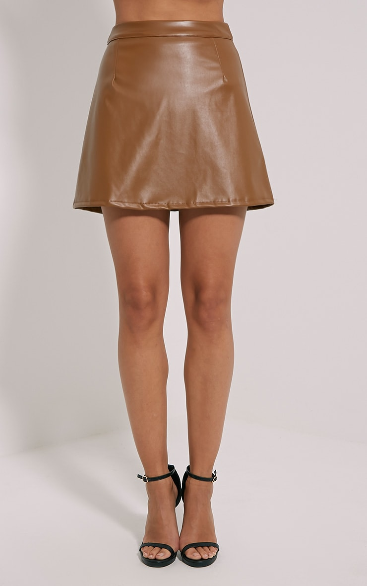 Rose Camel Faux Leather A-Line Mini Skirt 2