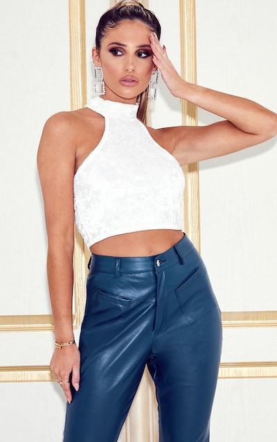 White Velvet High Neck Crop Top