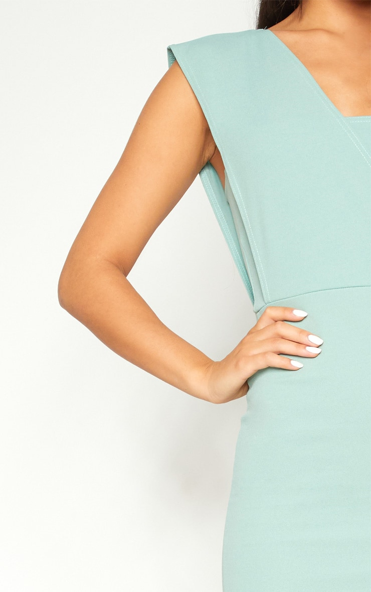 Mint One Shoulder Draped Midi Dress 5