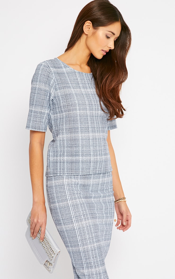 Cleo Blue Checked Top  1