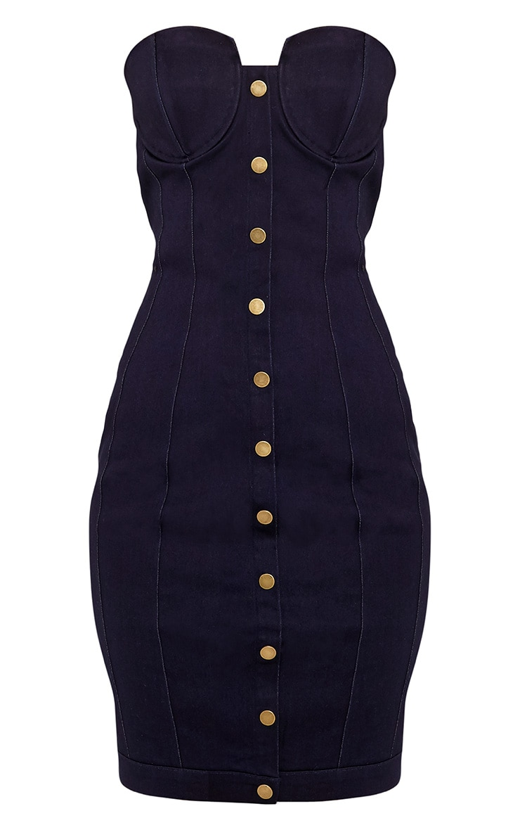 Jaqueine Dark Wash Button Through Denim Bodycon Dress 3