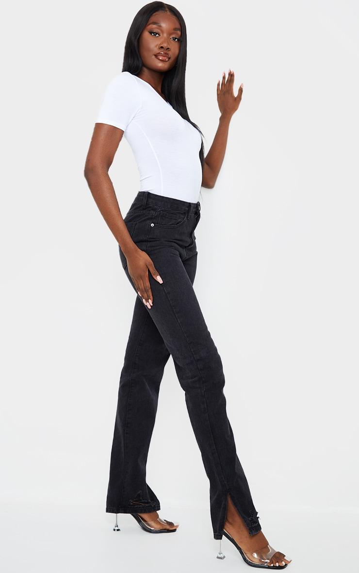 Tall Black Wash Distressed Split Hem Straight Leg Jeans 1