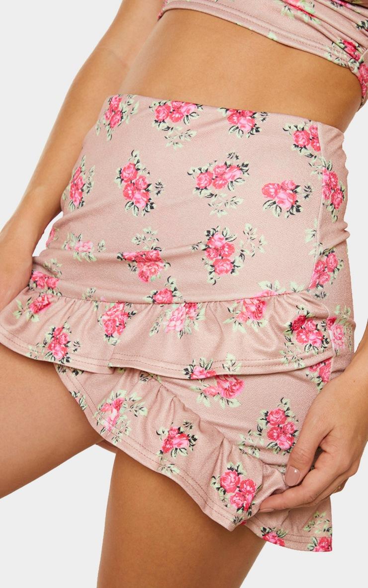 Brown Floral Printed Frill Detail Wrap Mini Skirt 5