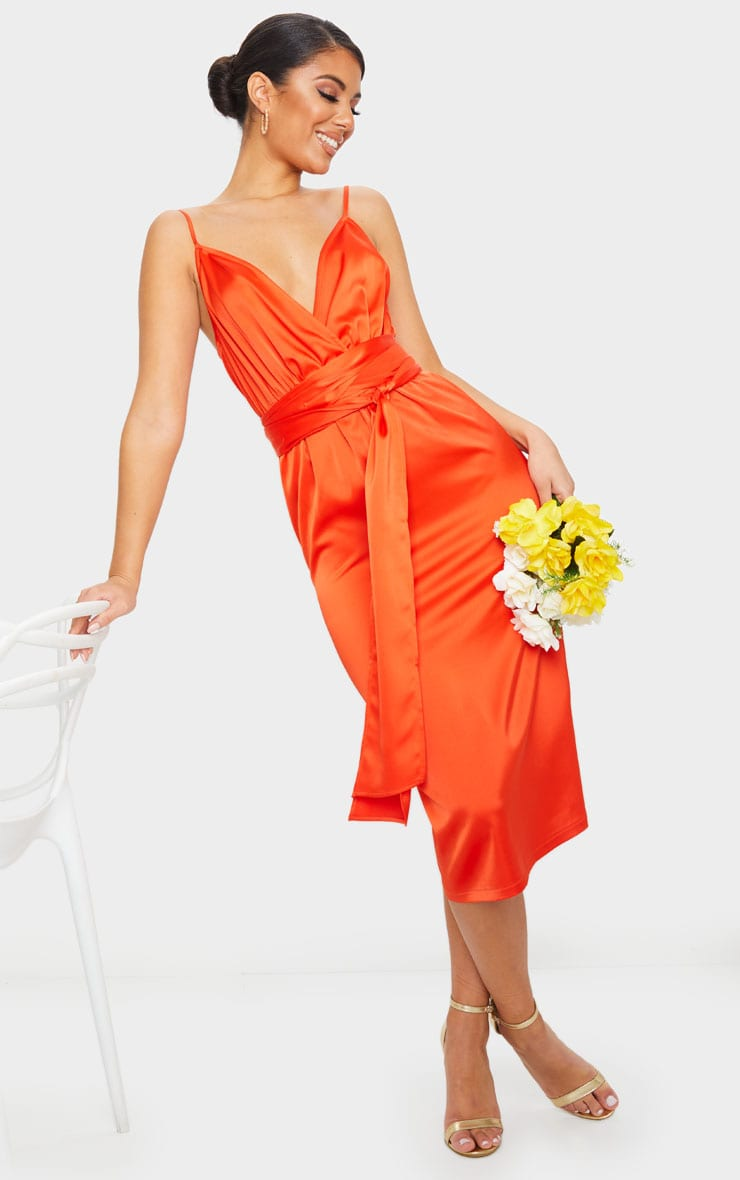 Bright Orange Tie Waist Midi Slip Dress 1
