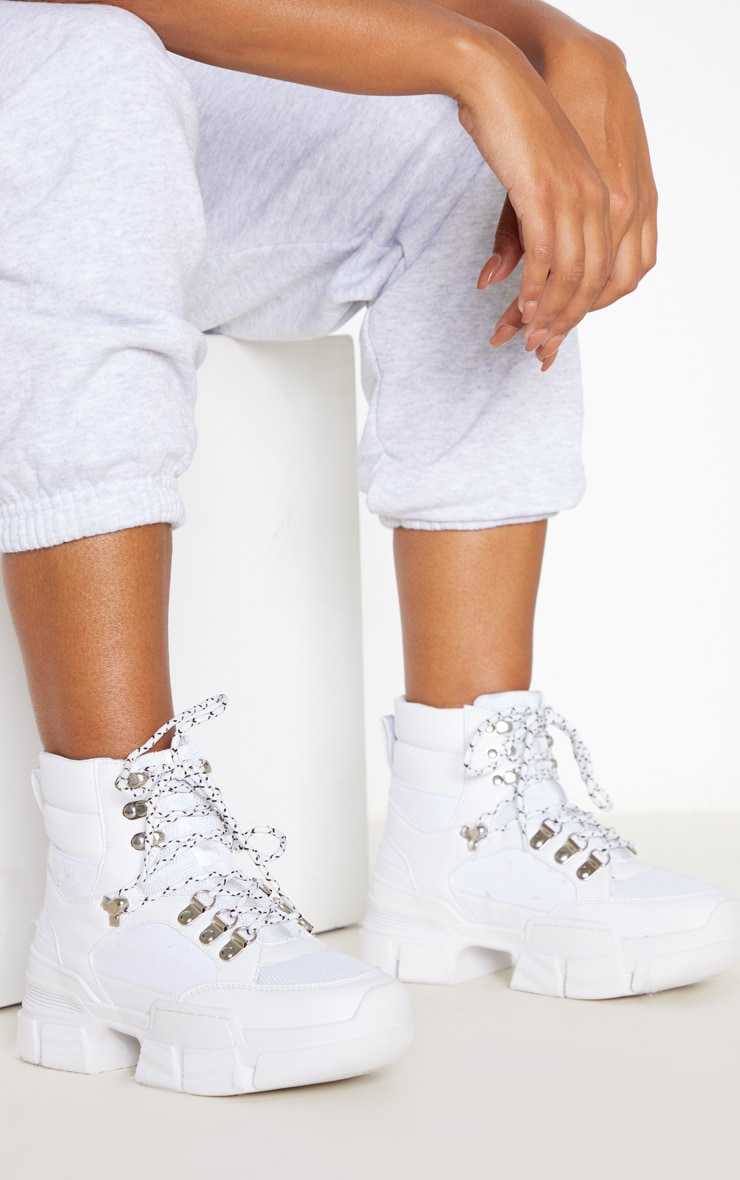 White Lace Up Cleated Sole Hiker Boot