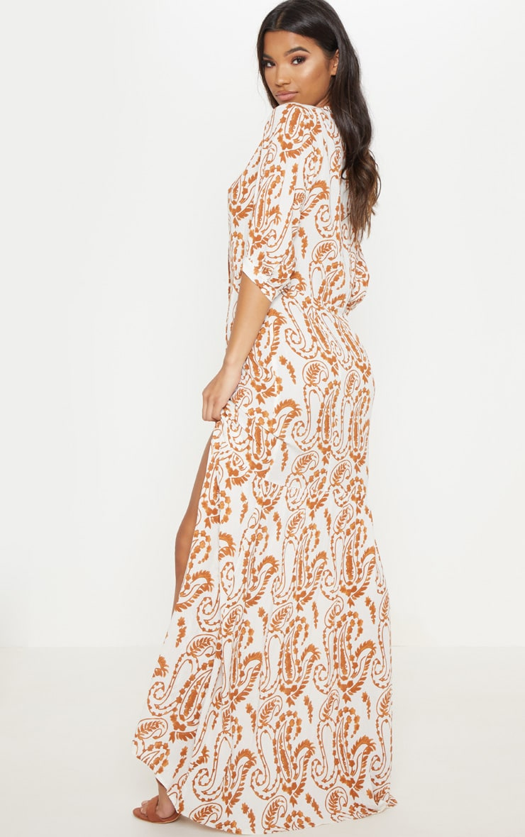 White Paisley Print Button Front Split Maxi Dress 2