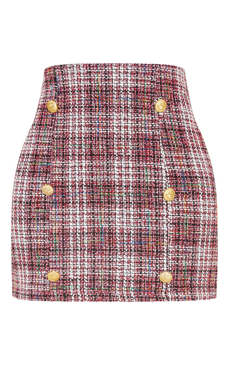 Red Tweed Button Mini Skirt 3