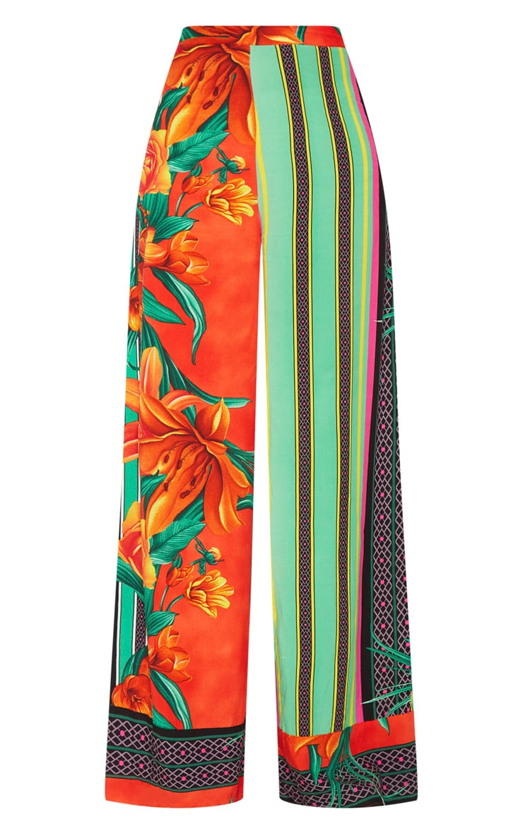 Multi Mixed Print Tropical High Waisted Wide Leg Trousers 4
