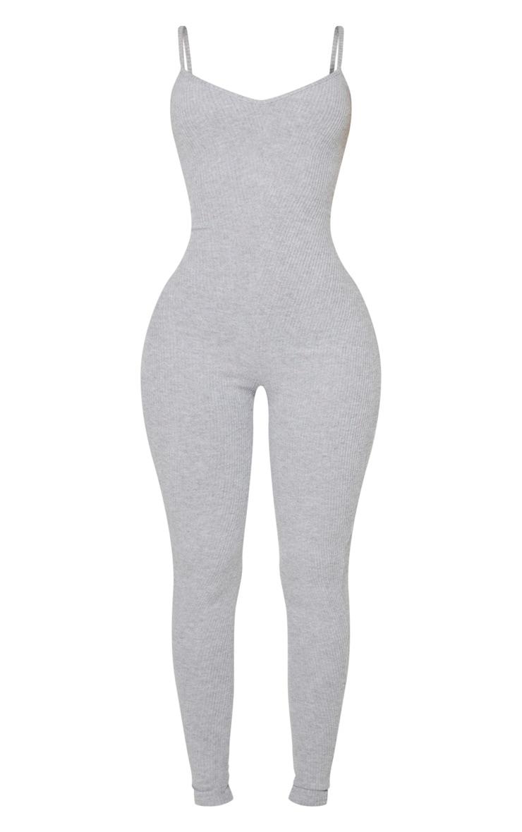 Shape Grey Brushed Rib Strappy Jumpsuit 5