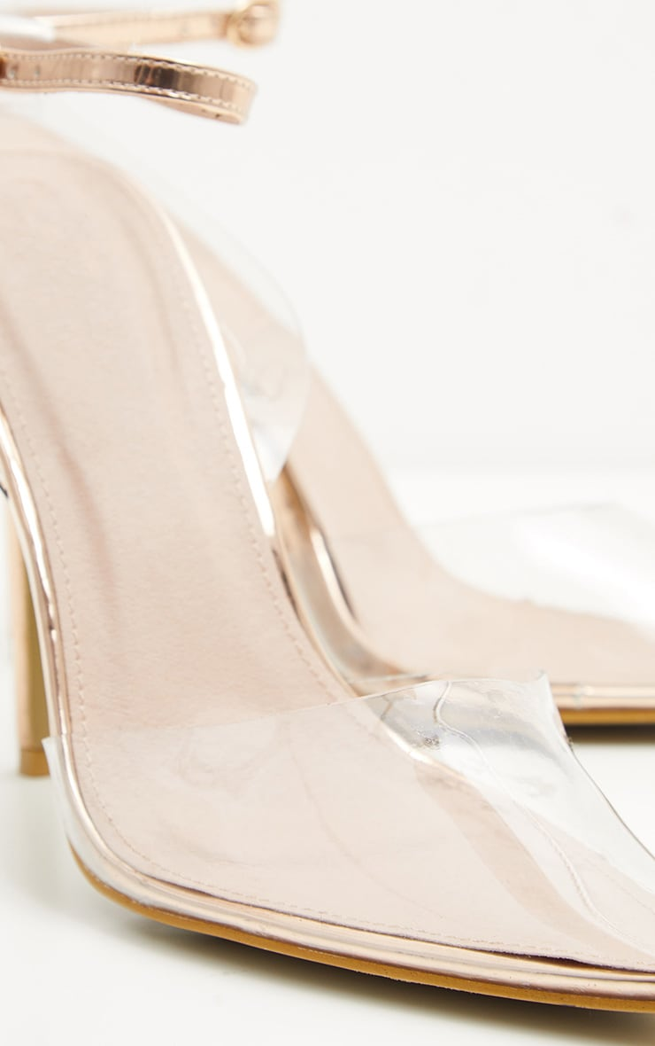 Rose Gold Clear Ankle Strap Court Shoes 4