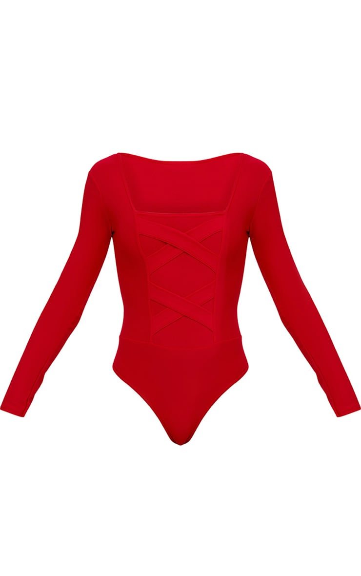 Red Crepe Cross Front Detail Thong Bodysuit 3