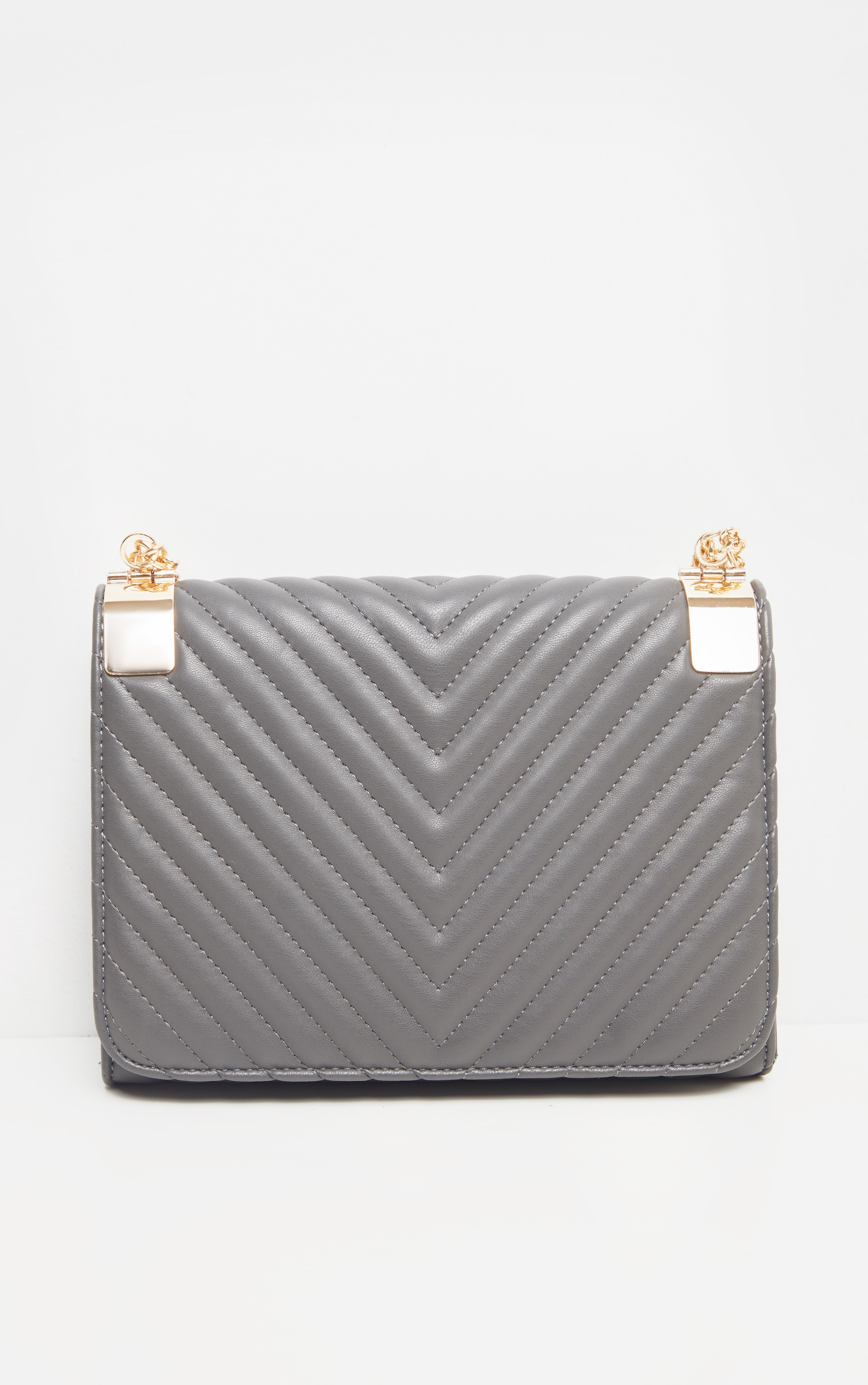 Grey Quilted PU Large Cross Body 2