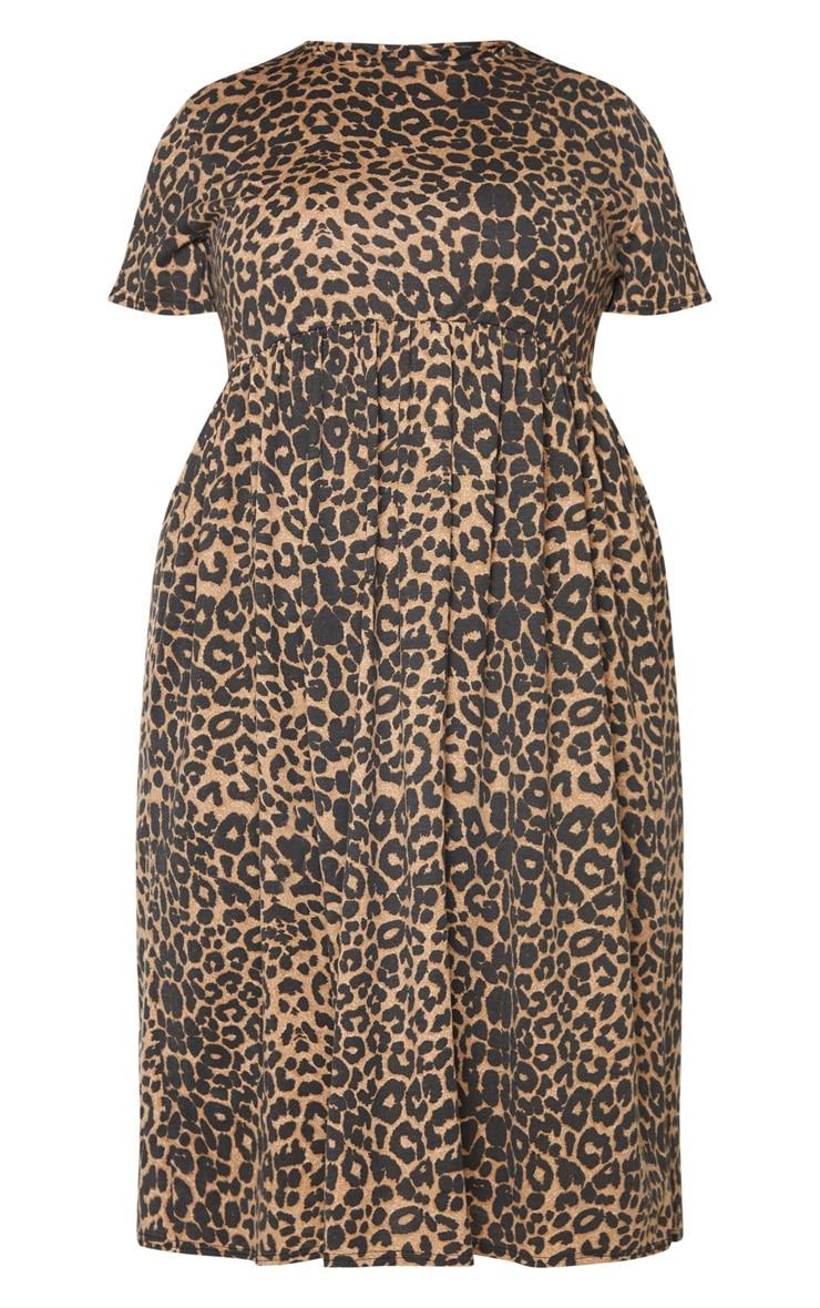 Plus Leopard Print Short Sleeve Midi Smock Dress 5