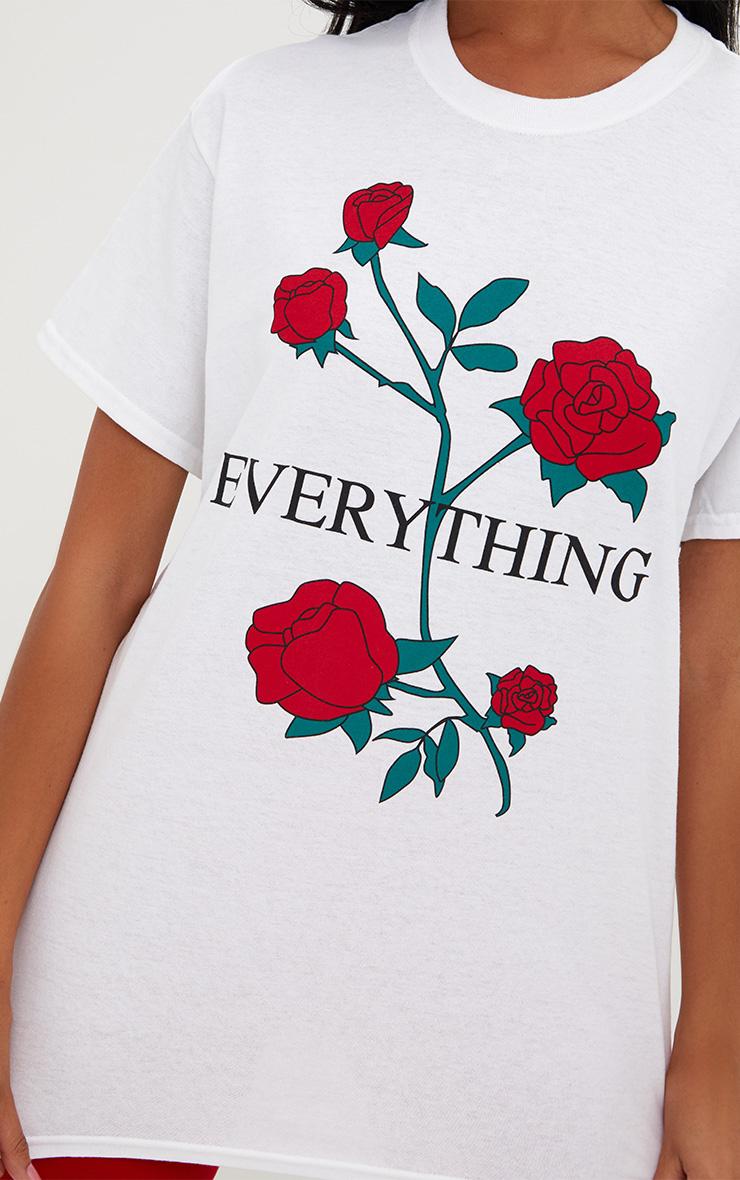White EVERYTHING Slogan Roses T Shirt 5