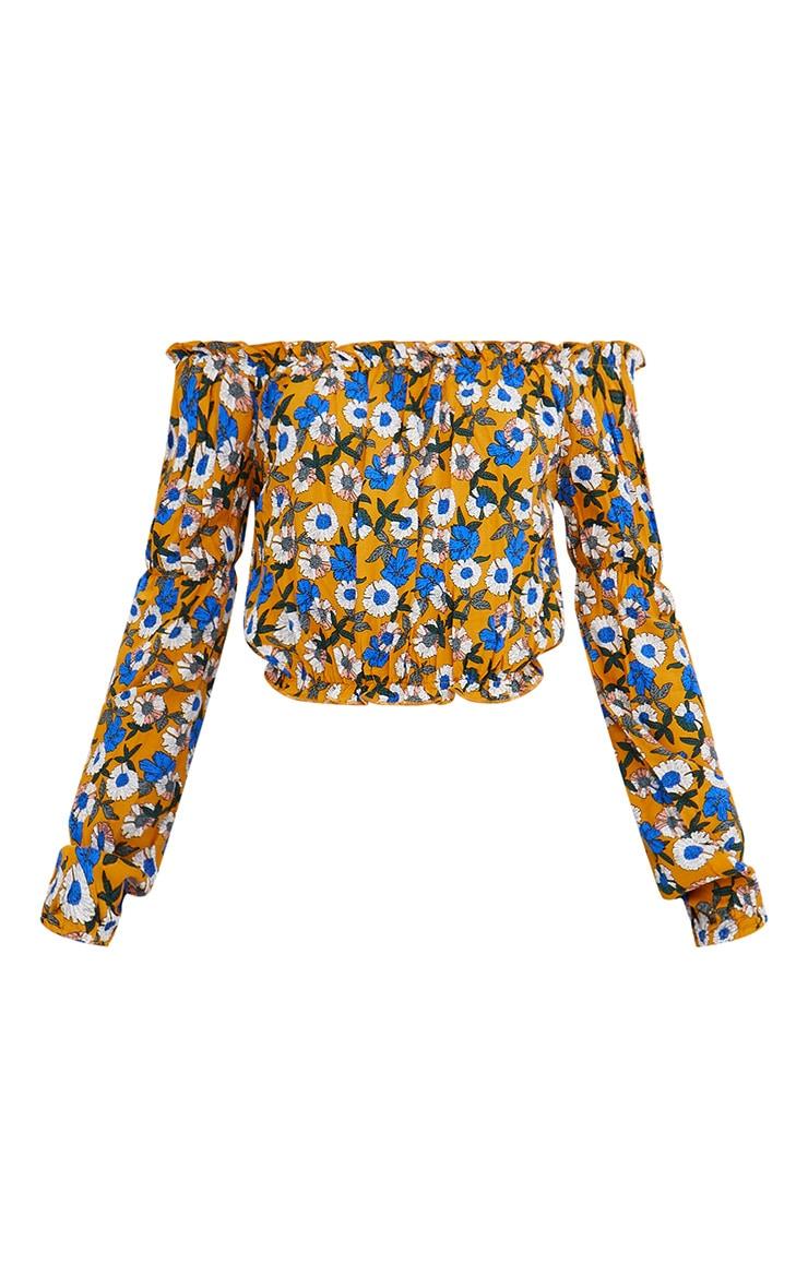 Mustard Ditsy Floral Print Bardot Crop Top 3