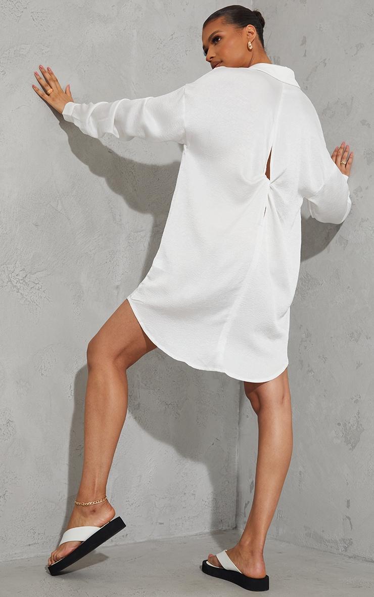 White Textured Twist Cut Out Back Drop Hem Shirt Dress 1