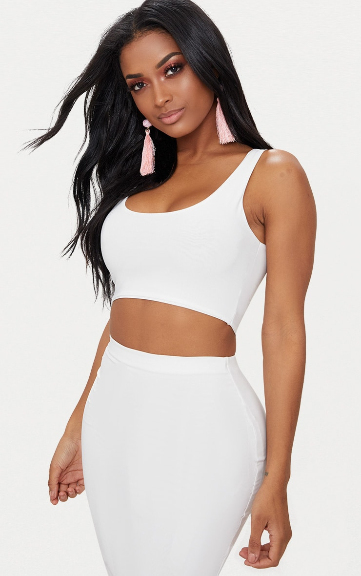 Shape White Slinky Square Neck Crop Top 1