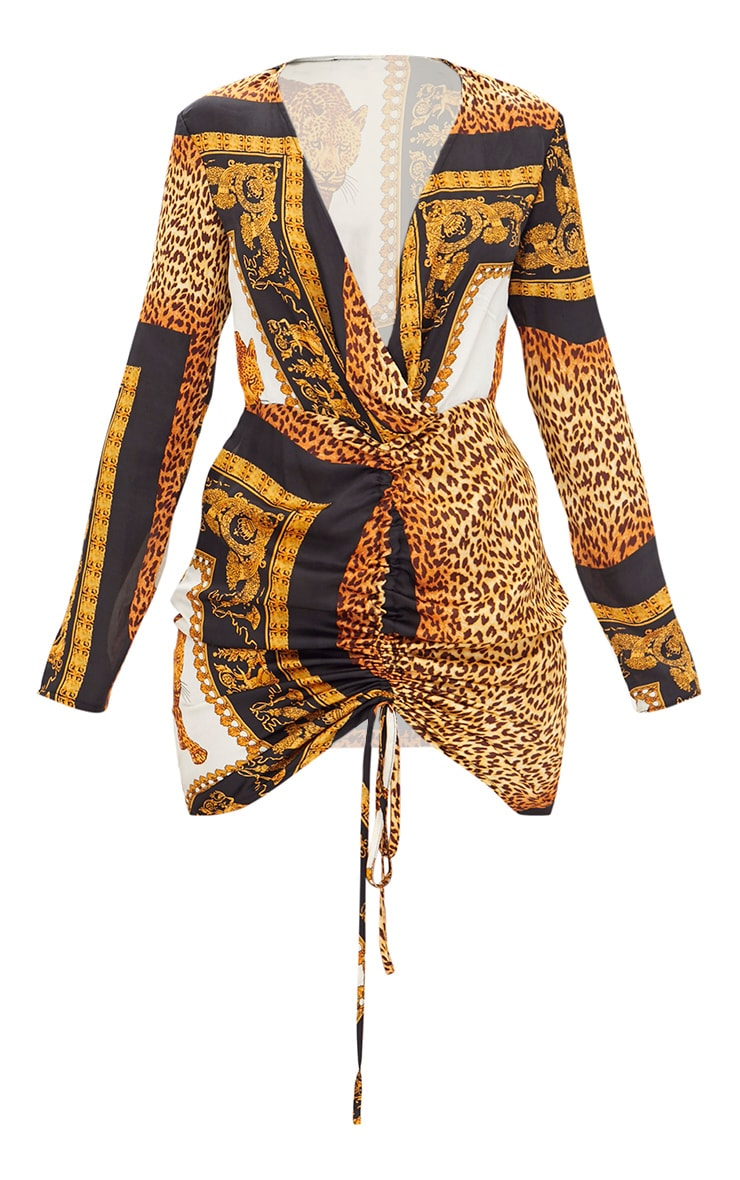 Animal Scarf Print Satin Plunge Ruched Front Bodycon Dress 3