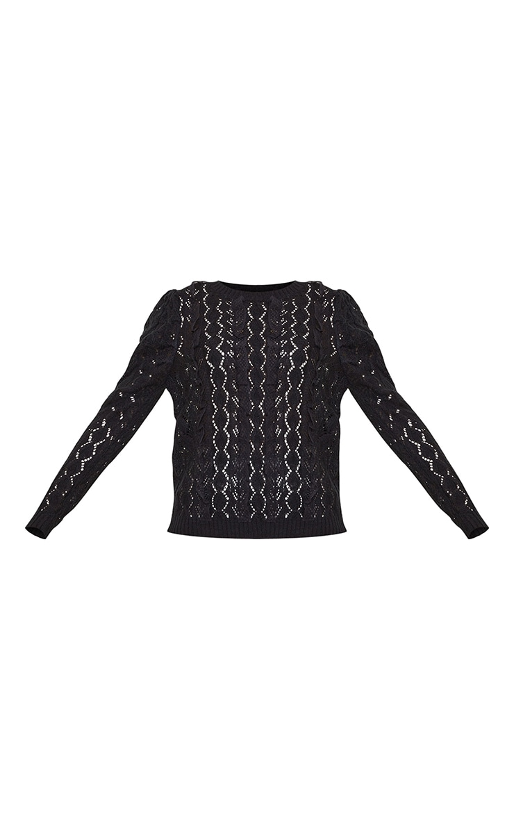 Black All Over Pointelle Knitted Sweater 5