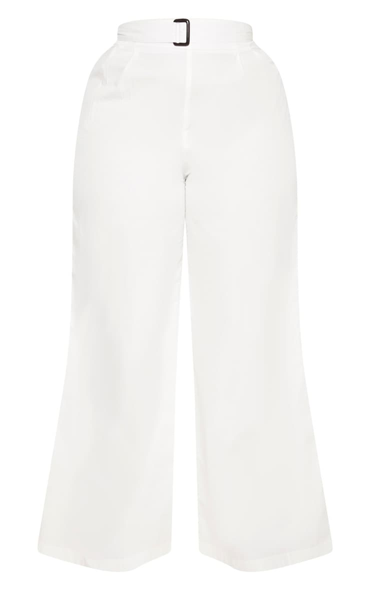 Plus White Tortoise Belt Woven Wide Leg Trouser 3