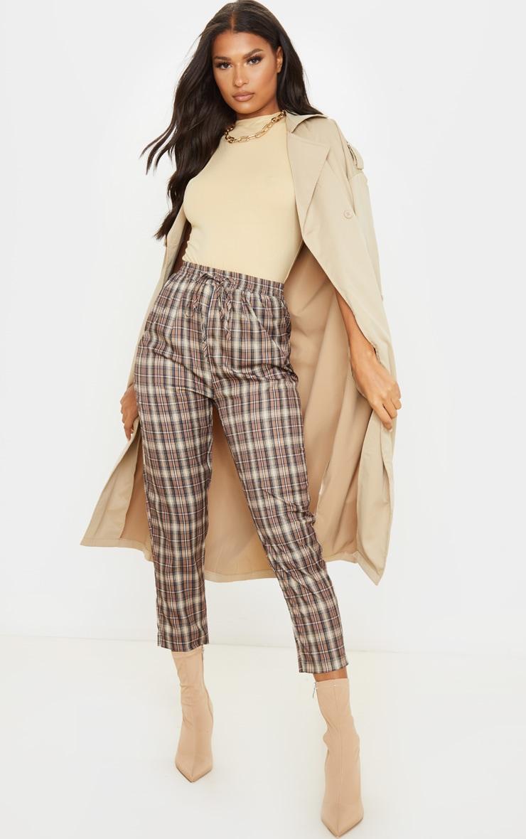 Brown Check Casual Pants 1