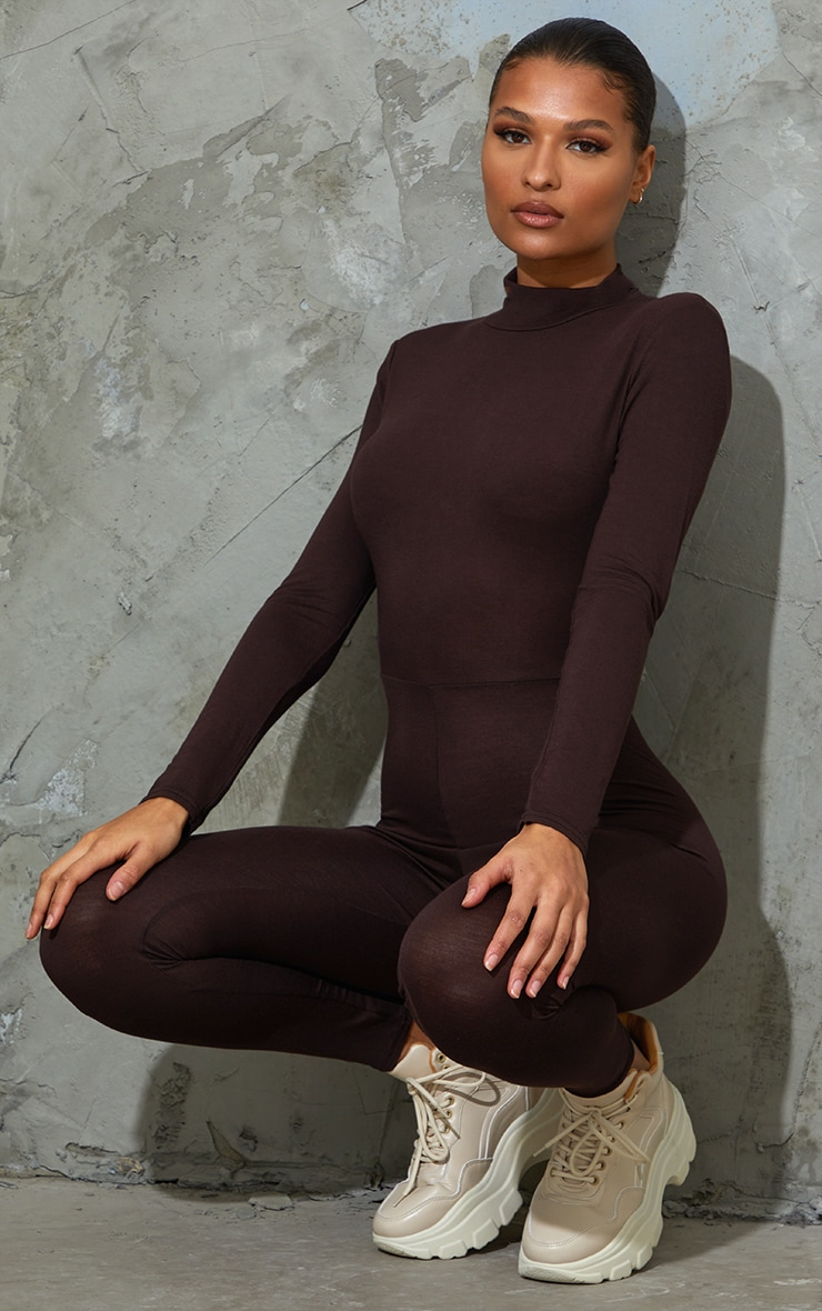 Chocolate Roll Neck Long Sleeve Jumpsuit 3