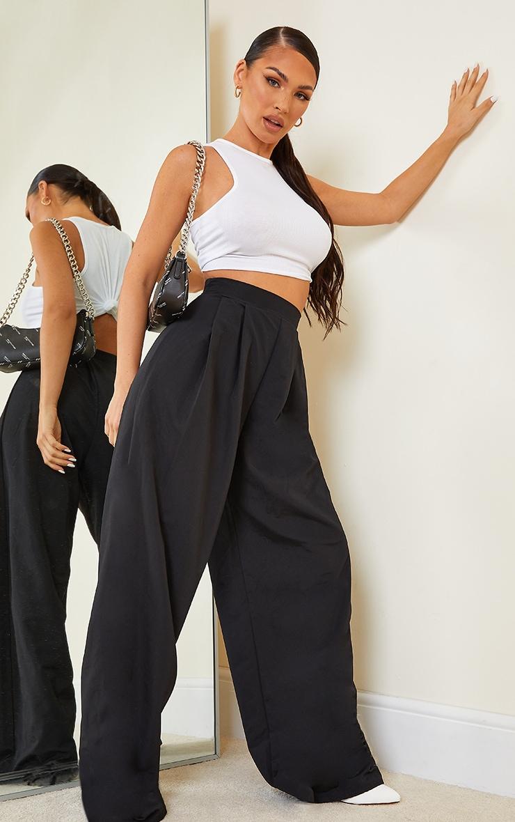 Black Woven Pleat Detail Extreme Wide Leg Trousers image 1