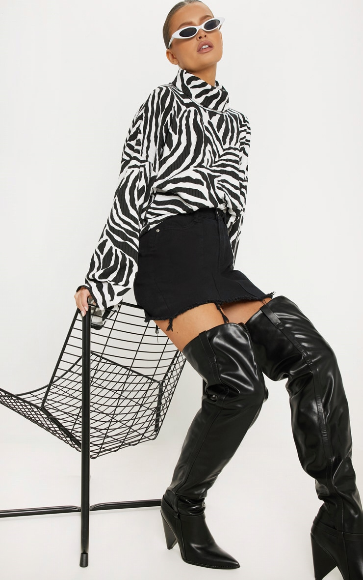 Monochrome Zebra Print Roll Neck Oversized Sweater 1