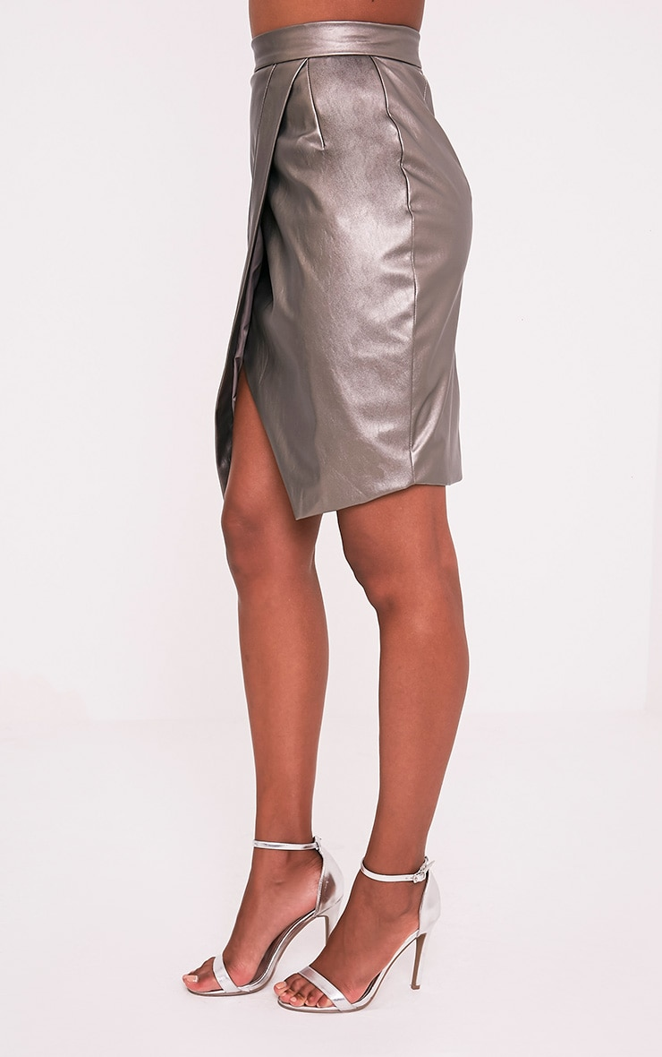 Greer Metallic Pewter Faux Leather Wrap Midi Skirt 4