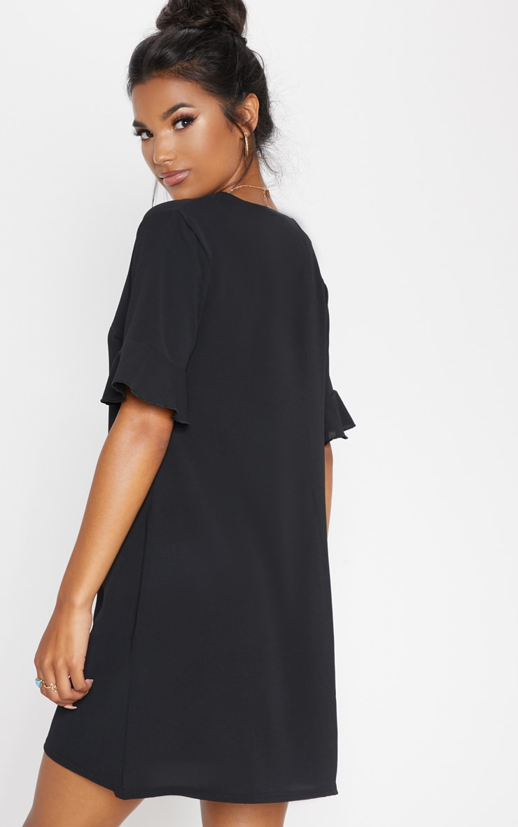 Black Oversized Button Front Shirt Dress 2
