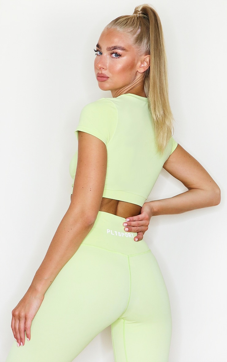PRETTYLITTLETHING Lime Sculpt Luxe Racer Neck Sports Top 2