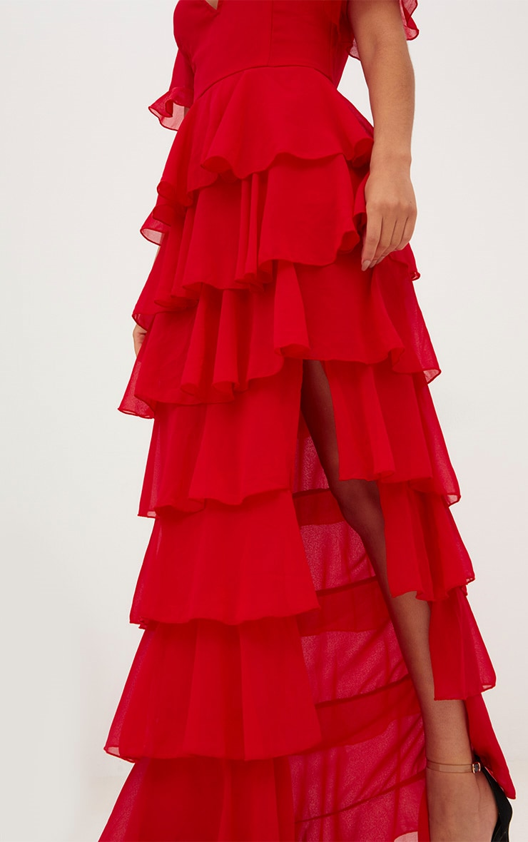 Red Chiffon Ruffle Layer Maxi Dress 6